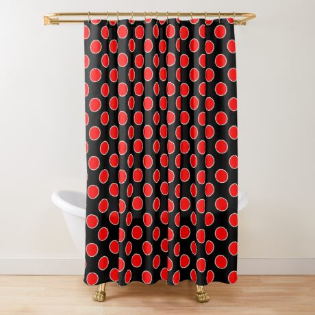 Cube 8 - Red Polka Dots  Shower Curtain