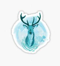Blue Stag Illustration Sticker