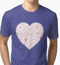 Pink heart with cute drawings Tri-blend T-Shirt