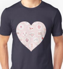 Pink heart with cute drawings Unisex T-Shirt