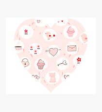 Pink heart with cute drawings Photographic Print