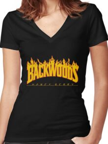 Backwoods Thrasher Hoodie Women's Fitted V-Neck T-Shirt