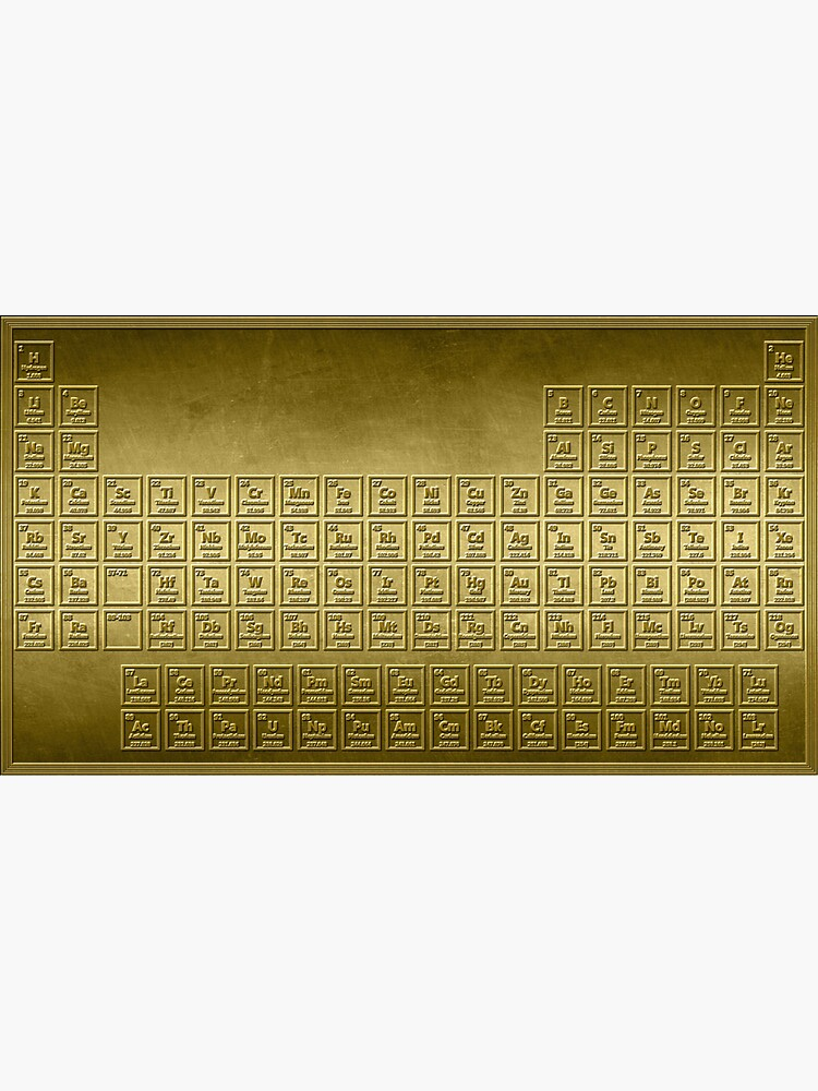 Golden Periodic Table by sciencenotes
