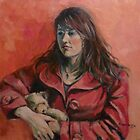 'Georgie: a study in red' Oil on canvas 60x40cm by Elizabeth Moore Golding