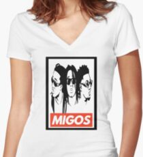 Migos obey design Women's Fitted V-Neck T-Shirt