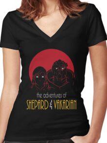 Adventures of FemShep and Vakarian Women's Fitted V-Neck T-Shirt