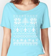 Ugly Christmas Sweater - Airplane / Pilot  Women's Relaxed Fit T-Shirt