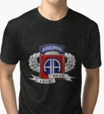 82nd Airborne Division 100th Anniversary Insignia over Blue Velvet Tri-blend T-Shirt