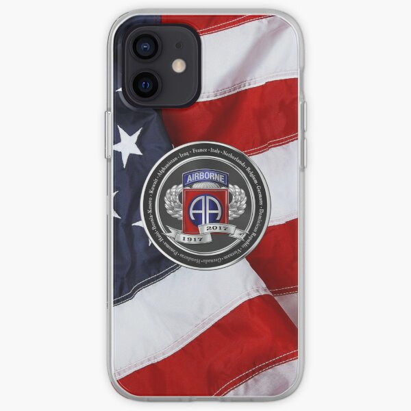 82nd Airborne Division 100th Anniversary Medallion over American Flag iPhone Soft Case