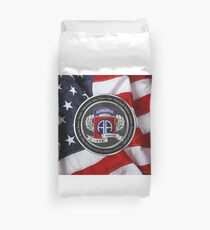 82nd Airborne Division 100th Anniversary Medallion over American Flag Duvet Cover