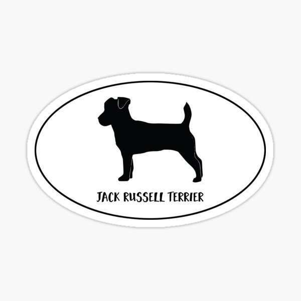 Jack Russell Terrier Dog Breed Silhouette Classic Oval Sticker Sticker