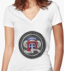 82nd Airborne Division 100th Anniversary Medallion over White Leather Women's Fitted V-Neck T-Shirt