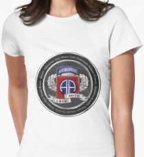 82nd Airborne Division 100th Anniversary Medallion over White Leather Women's Fitted T-Shirt