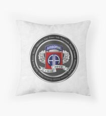 82nd Airborne Division 100th Anniversary Medallion over White Leather Throw Pillow
