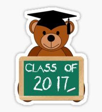 Class of 2017 Graduation Gift Class Back To Elementary School Teddy Bear with Chalkboard Sticker