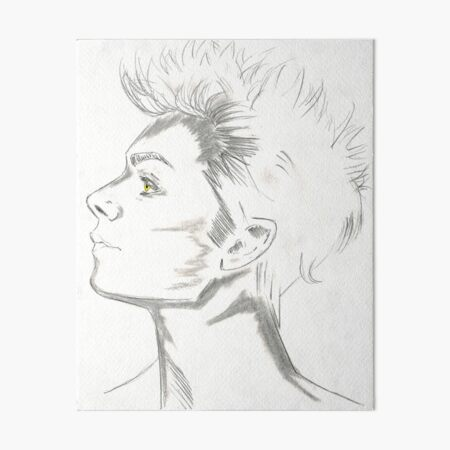 Male Face Drawing Art Board Print