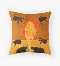 Lady with Blackbirds Throw Pillow