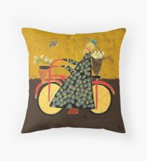 Bicycle Monk with loveletters Throw Pillow