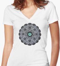 Green Marble Mandala  Women's Fitted V-Neck T-Shirt