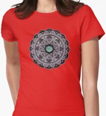 Green Marble Mandala  Womens Fitted T-Shirt