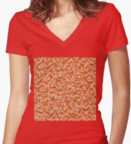 Surface texture #DeepDream #Art Red Fitted V-Neck T-Shirt