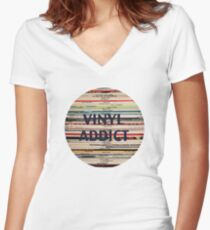Vinyl Addict records Women's Fitted V-Neck T-Shirt