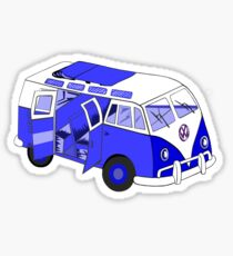 Split Screen VW Camper Van Blue Sticker