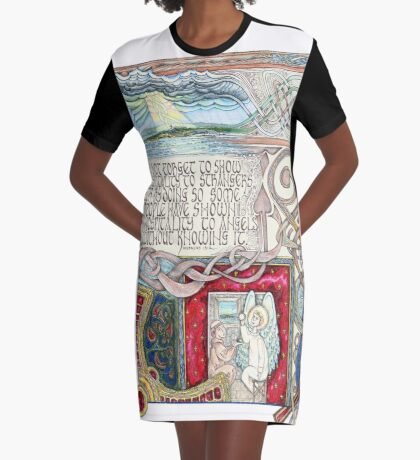 Hospitality to Angels Graphic T-Shirt Dress
