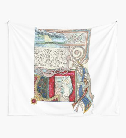 Hospitality to Angels Wall Tapestry