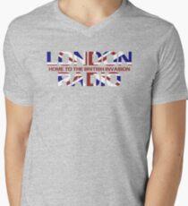 British Invasion - London Radio (Flag) Men's V-Neck T-Shirt