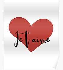 Je t'aime - Liebes-Herz-Valentinsgruß-Tageszitat Poster