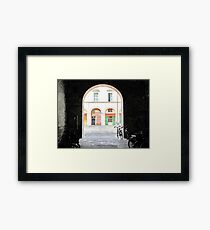 Bicycles in the yard Framed Print
