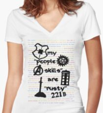 "My ""People Skills"" are ""Rusty"" Women's Fitted V-Neck T-Shirt"