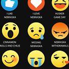 I Love Nebraska Fifty Nifty United States Emoji Emoticon Graphic Tee Shirt by DesIndie