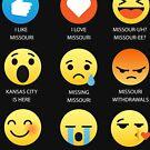 I Love Missouri Fifty Nifty United States Emoji Emoticon Graphic Tee Shirt by DesIndie