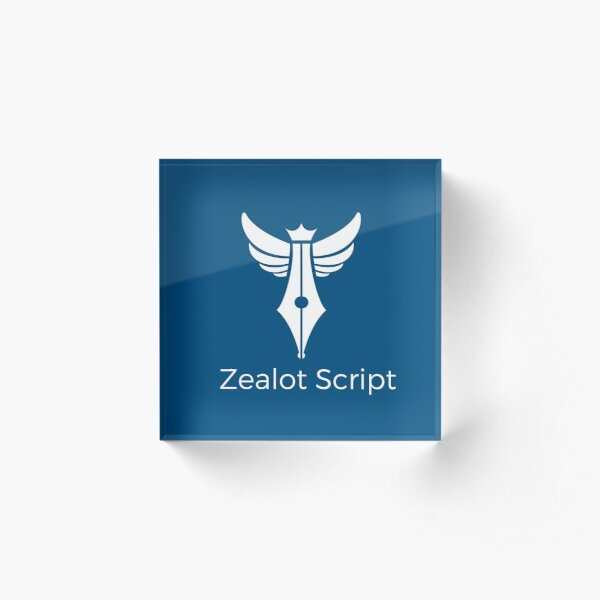 Zealot Script Logo with Title Acrylic Block