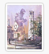 Monster destroying NCSU Bell-Tower in Raleigh, NC. Sticker