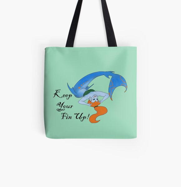 Keep Your Fin Up! All Over Print Tote Bag