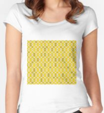 Gold Diamond Weave Women's Fitted Scoop T-Shirt