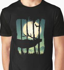 Beautiful Deer on Field Scene Illustration Brushstroke II Graphic T-Shirt