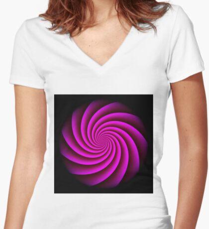 Digital Rose Swirl by Julie Everhart Fitted V-Neck T-Shirt