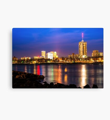 Riverside View of Tulsa Oklahoma Skyline Canvas Print