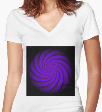 Digital Blue by Julie Everhart Fitted V-Neck T-Shirt