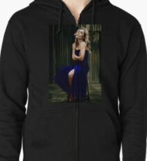 Gillian Anderson oil color painting  Zipped Hoodie