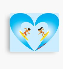 Surfer Couple Valentine's Day Heart Wave Canvas Print