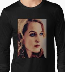 Gillian Anderson oil color painting  Long Sleeve T-Shirt