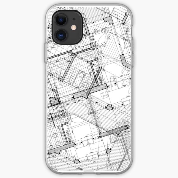 White and Black Vintage BluePrint iPhone Soft Case