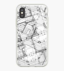 White and Black Vintage BluePrint iPhone Case