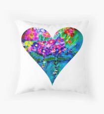 Floral Heart Designer Art Gifts - White Throw Pillow
