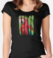 Beautiful Red Macaw Illustration Brushstroke I Women's Fitted Scoop T-Shirt